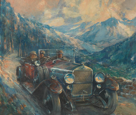Frederick Gordon Crosby (Britannique, 1885-1943), «Delage - Paris-Nice 1919»,
