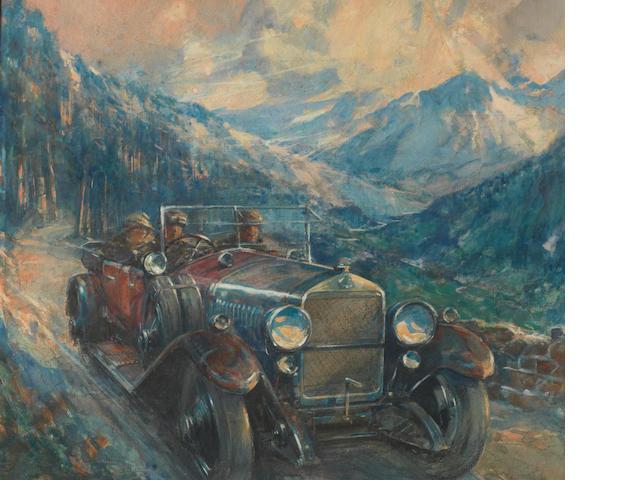 Frederick Gordon Crosby (Britannique, 1885-1943), «Delage - Paris-Nice 1919»,