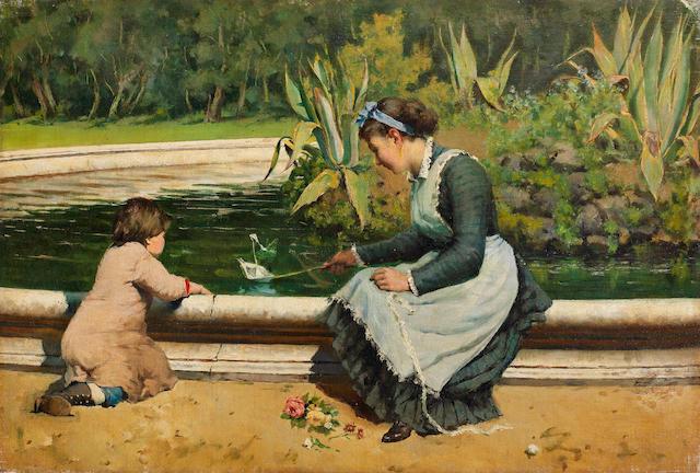 Antonino Leto (Italian, 1844-1913) Il gioco a Villa Tasca