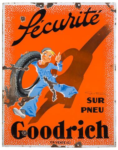 Rare panneau émaillé «Sécurité sur Pneu Goodrich» avec dessin d'après Géo Ham (1900-1972), Français, années 1930,