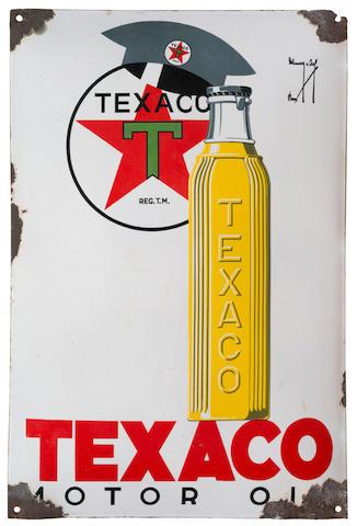 Panneau émaillé Texaco Motor Oil, Belge, circa 1934,