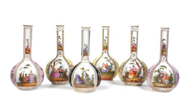 Six Dresden bottle vases, 20th century