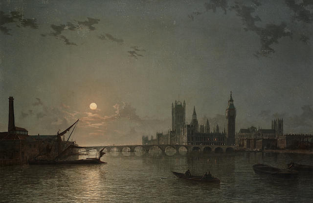 Henry Pether (British, active 1828-1865) A moonlit View of the Houses of Parliament from the Thames