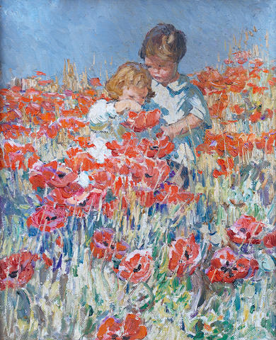 Dorothea Sharp, RBA, ROI (British, 1874-1955) Among the poppies