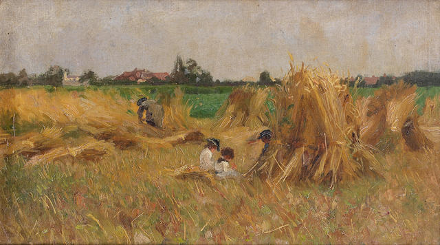 English School, late 19th Century Children among the stooks, possibly Walberswick