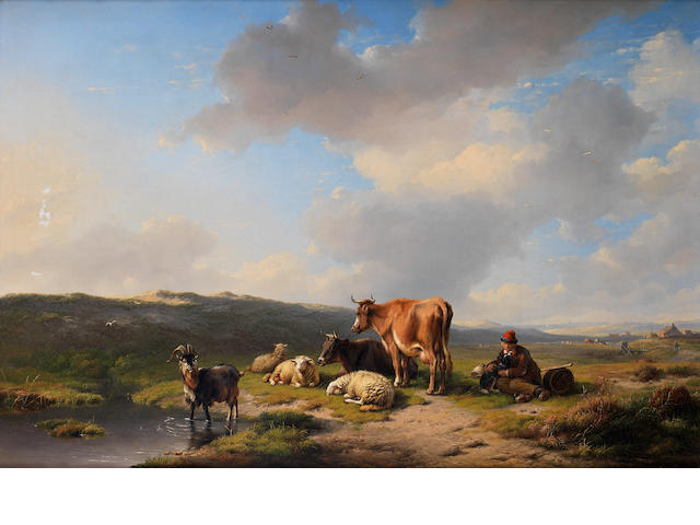 Eugène Verboeckhoven (Belgian, 1798-1881) The home pasture