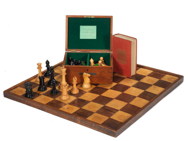 A Jacques Staunton boxwood and ebony chess set