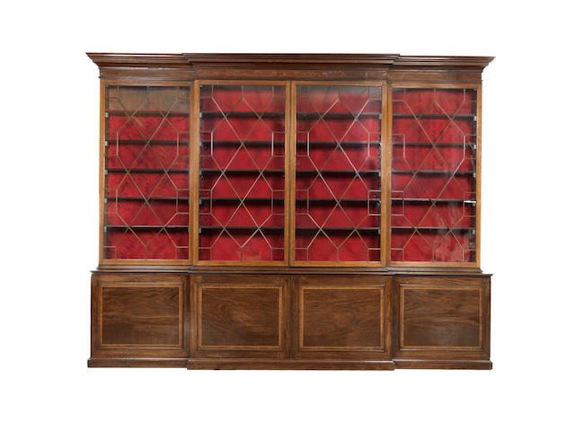 A large George III mahogany breakfront bookcase