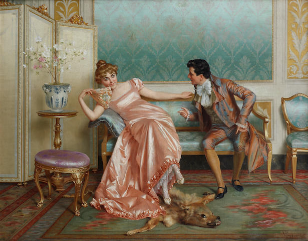 Vittorio Reggianini (Italian, 1858-1939) Welcome advances
