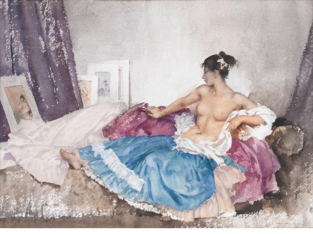 Sir William Russell Flint, RA, PRWS (British, 1880-1969) The Green Skirt