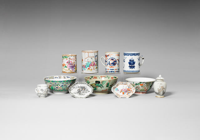 A group of ten enamelled wares 18th century