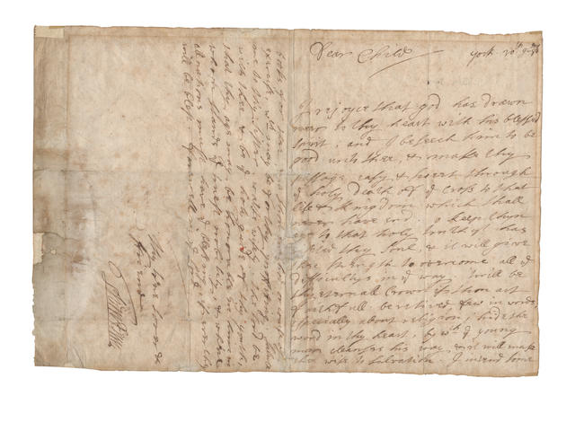 "WILLIAM PENN. Autograph letter signed (""WmPenn""), to Sir John Rodes,  York, ""30th 9mo [November] [16]86"""
