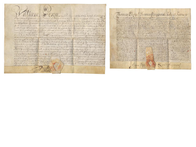 "WILLIAM PENN. Letters Patent signed (""WmPenn"") of a plot of land in Walnut Street, Philadelphia, to Daniel Jones, Philadelphia, 22 [June] 1685; with Letters Patent signed by Penn's nominees, James Claypoole and Robert Turner, granting Jones a further lot in Walnut Street, and other material"