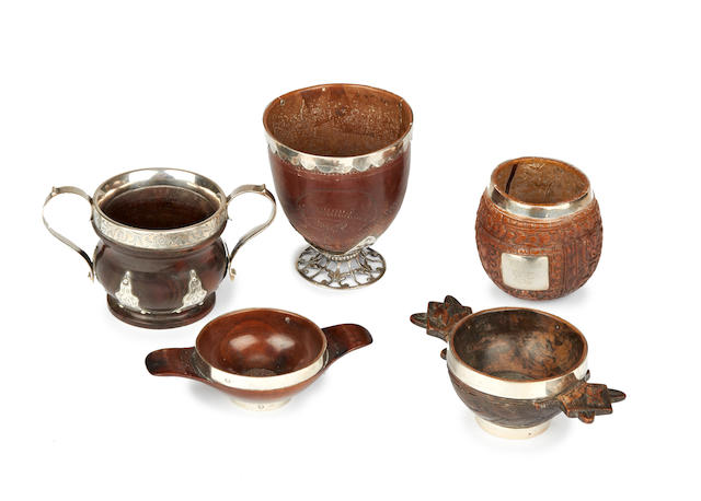 Four pieces of late 18th/19th century silver-mounted treen