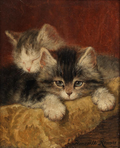 Henriette Ronner-Knip (Dutch, 1821-1909) Two kittens on a pillow