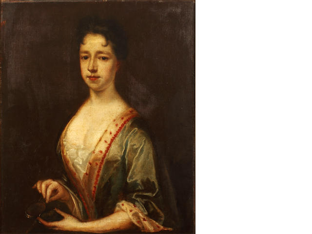 English School, early 18th Century Portrait of a lady, half-length, in a blue dress, holding a snuff box