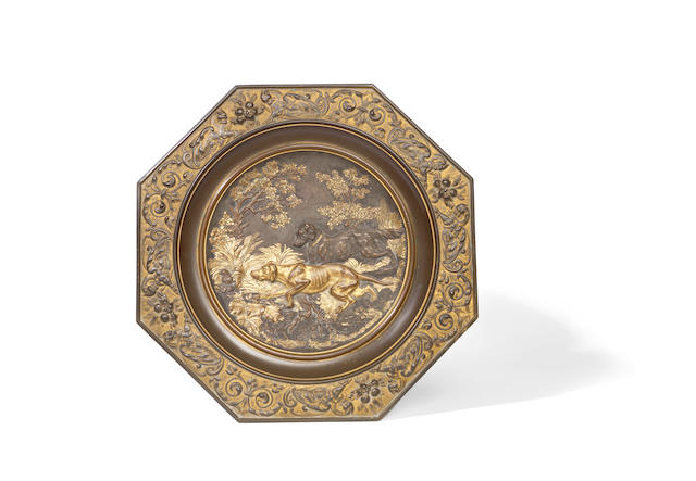 A late 19th century French gilt bronze plaque after the designs of Pierre Jules Mene, French (1810-1879)