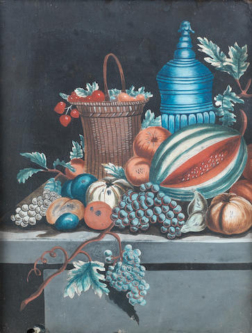 Dutch School, late 18th Century Still life of a basket of strawberries with other fruit on a stone ledge; Still life of a tazza of plums with other fruit on a stone ledge in original frames (2)