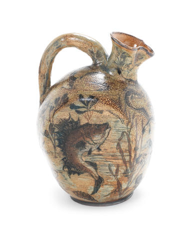 Martin Brothers  A Stoneware Flask with Leaping Carp, 1887