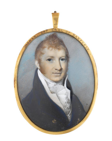 THOMAS KNOX, 2ND EARL OF RANFURLY<BR />George Engleheart (British, 1750-1829) the sitter wearing blue coat with gold buttons, white waistcoat, stock and frilled cravat together with a pair of paste-set buckles