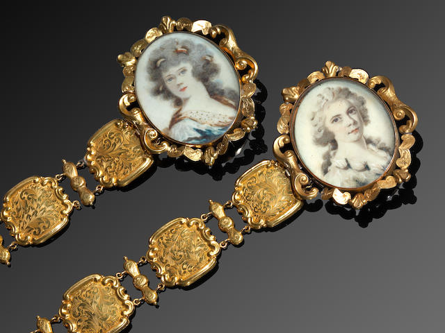 A pair of early 19th century portrait miniature bracelets