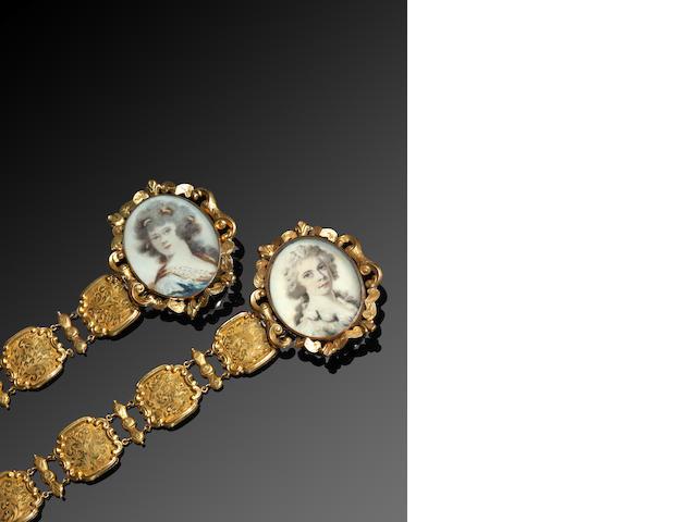 A pair of early 19th century portrait miniature bracelets
