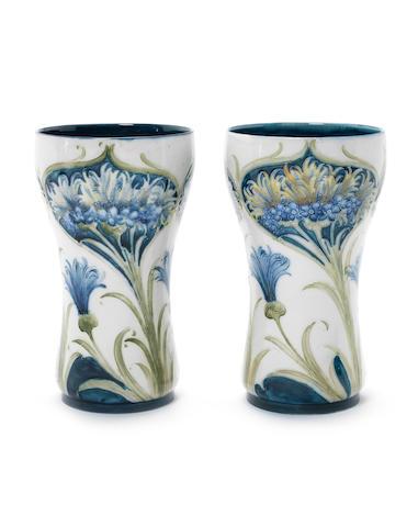 William Moorcroft 'Cornflower' a Pair of Florian Vases, circa 1905