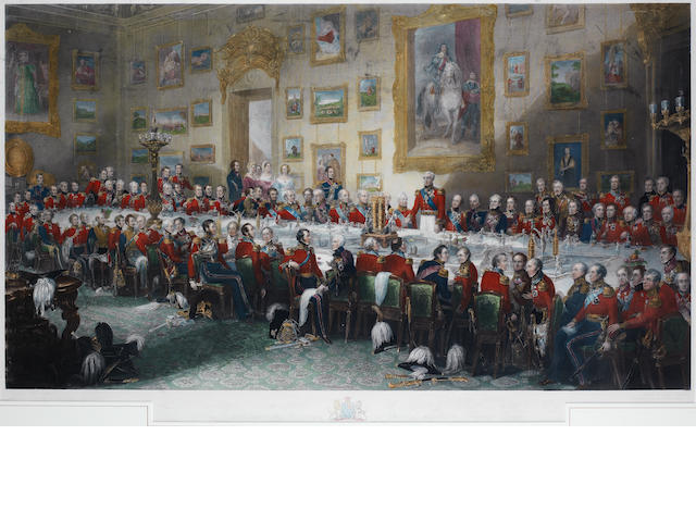 After William Salter The Waterloo Banquet 1836 Handcoloured engraving by William Greatlock, 1846, published by F.G. Moon, London, 62 x 111cm (24 1/2 x 39 3/4in)(PL)