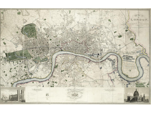 LONDON GREENWOOD (CHRISTOPHER and JOHN) Map of London, from an Actual Survey Made in the Years 1824, 1825, & 1826, LARGE HAND-COLOURED MAP, 1827