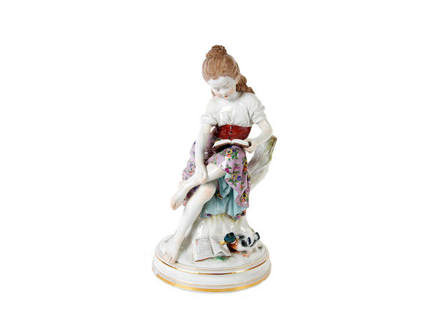 A large Meissen figure of a girl, 20th century