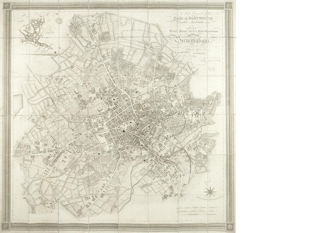 BIRMINGHAM SMITH (J. PIGGOTT) Birmingham, Engraved from a Minute Trigonometrical Survey Made in the Years 1824 & 1825, large folding map, 1828