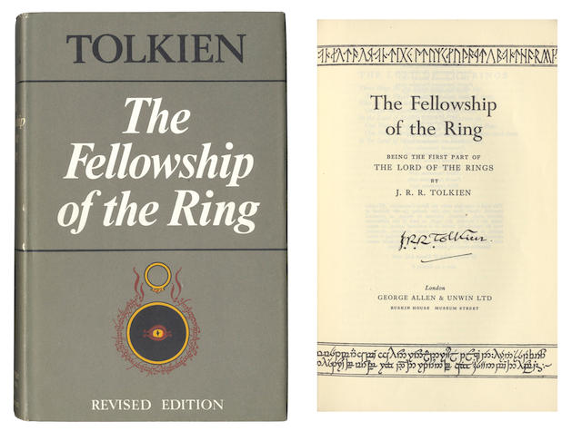TOLKIEN (J.R.R.) The Lord of the Rings, 3 vol., revised second edition, fifth impressions, SIGNED BY THE AUTHOR ON TITLE-PAGE OF EACH VOLUME, George Allen and Unwin, 1970