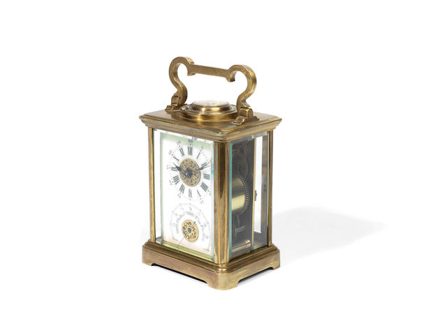 A late 19th French century lacquered brass combination carriage timepiece, barometer and thermometer