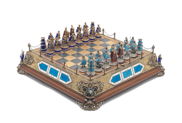 A 20th century Continental silver-gilt, gilt metal and enamelled chess set possibly Austro Hungarian, incuse stamped 925 (33)
