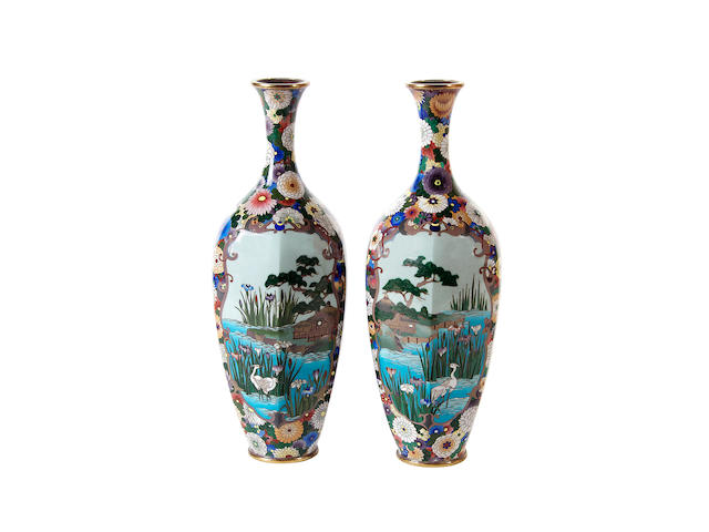 A pair of Japanese cloisonné vases, Meiji period