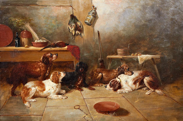 George Armfield (British, 1810-1893) The gamekeeper's parlour 20 x 30in. (51 x 76cm.)