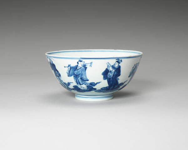 A blue and white bowl Qianlong six-character mark, 19th century
