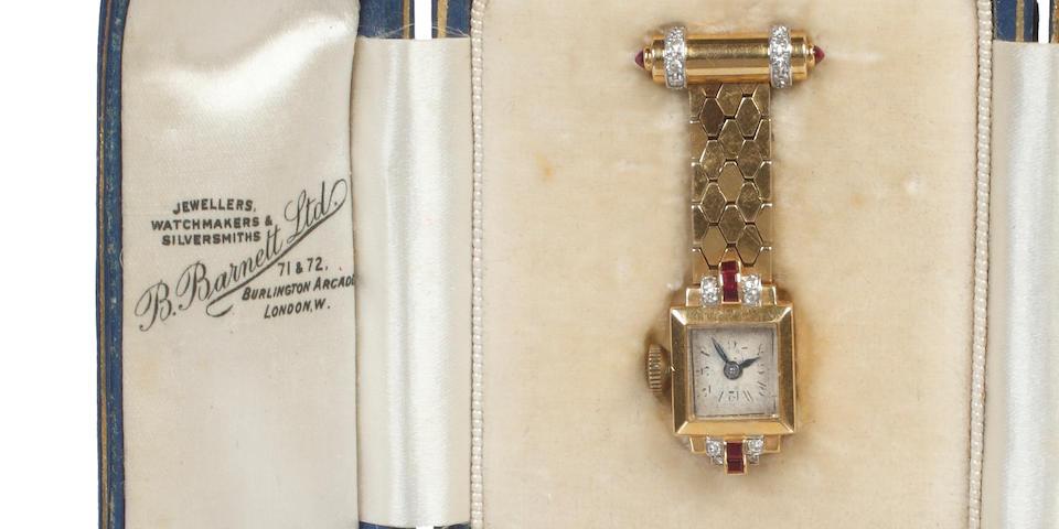 A lady's gem set fob watch, circa 1940