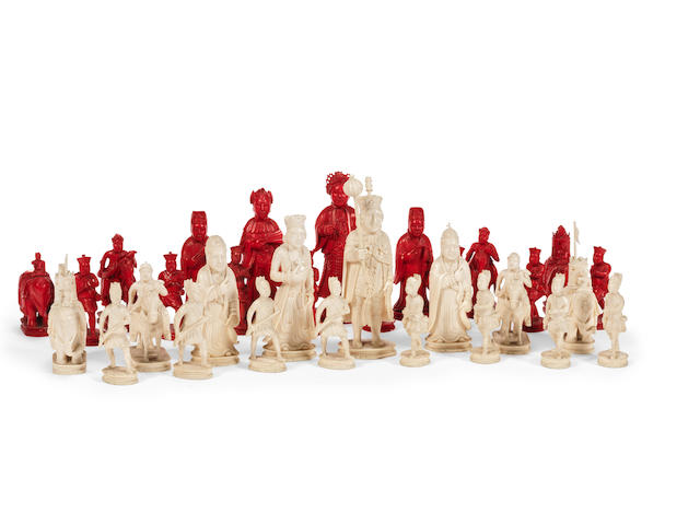 "A first half 19th century Chinese export carved ivory ""King George and Emperor Jiaqing"" figural chess set"