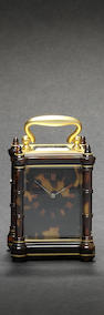 A late 19th century French tortoiseshell miniature carriage timepiece Drocourt, number 18609