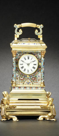 A good late 19th century French champlevé carriage clock and stand Attributed to Couaillet