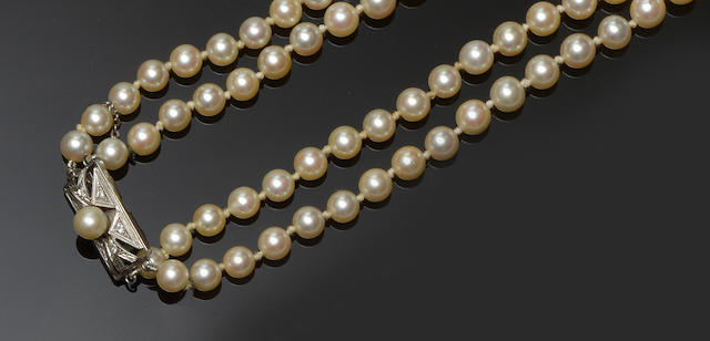 A cultured pearl double strand necklace