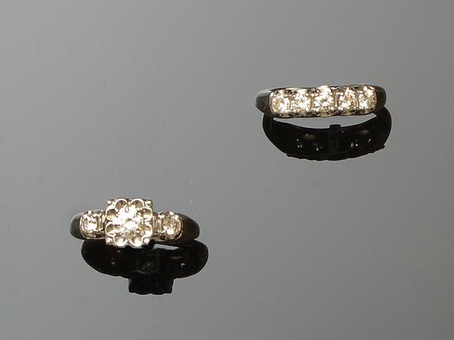 A diamond single stone ring and a diamond five stone ring ensuite (2)