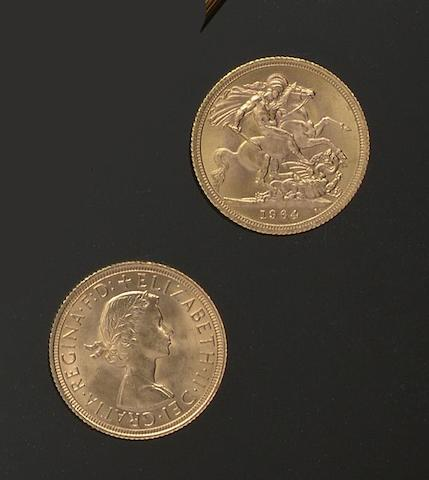 A collection of five Elizabeth II sovereigns (5)