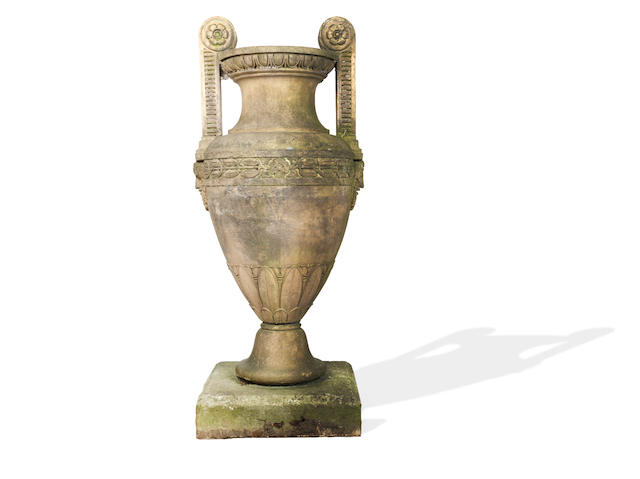 An early 19th century Coade type imitation stone urn after a design by George Bullock,