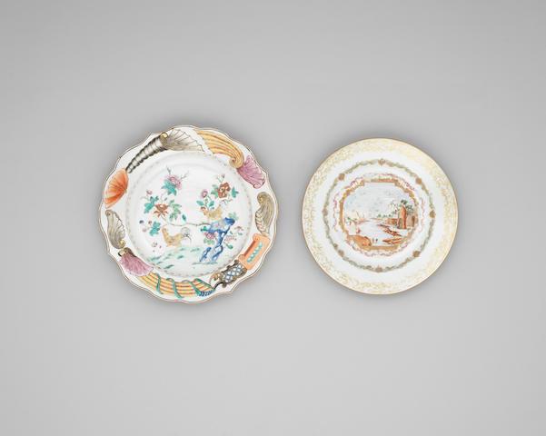 A famille rose Meissen style dish Qianlong