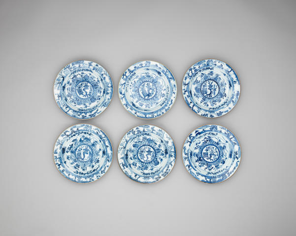 A set of six blue and white dishes 18th century