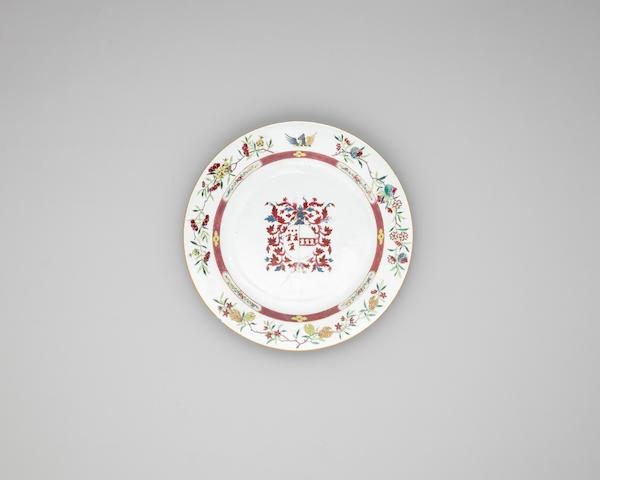 A famille rose armorial dish Yongzheng