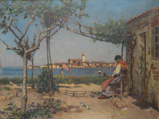 Frederick William Jackson (British, 1859-1918) Sitting in the shade overlooking Chioggia