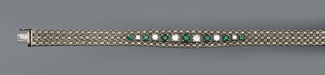 An emerald and diamond set bracelet